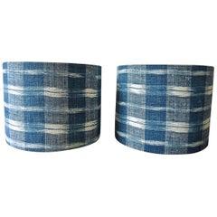 Pair of Indigo Ikat Cotton Custom Made Lampshades French