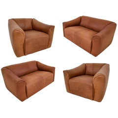 "Patinated Cognac Leather ""DS-47"" Seatings by De Sede in Switzerland, circa 1970s"