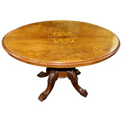 Victorian Oval Inlaid Tilt-Top Table