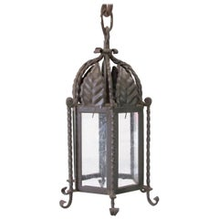 Pair of Small Forged Iron Lanterns with Seeded Glass