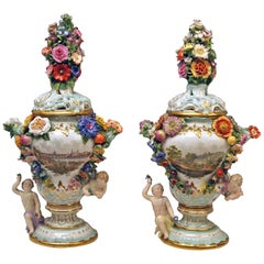 Meissen Two Potpourri Vases 2707 Painted Pictures Cherubs Flowers Kaendler 1870