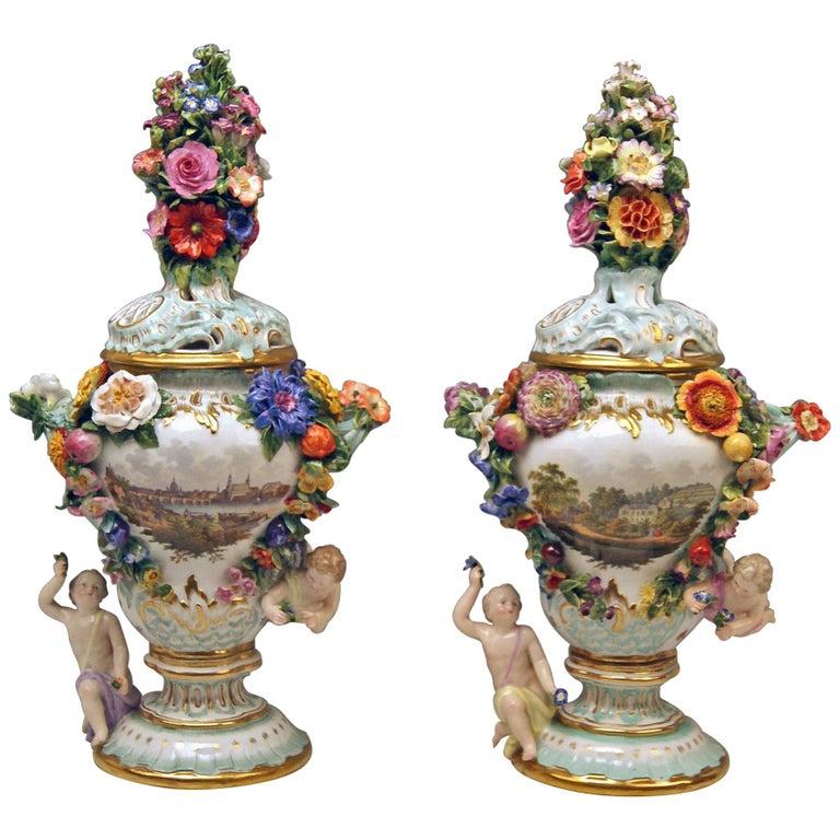 Meissen Two Potpourri Vases 2707 Painted Pictures Cherubs Flowers Kaendler 1870