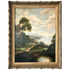 Antique Hudson River Scene Large Landscape Oil Painting in Gilt Wood Frame