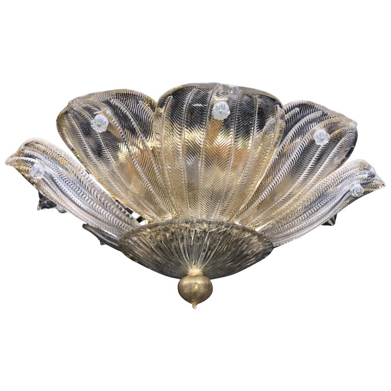 Mid-Century Modern Italian Leaf Clear & Gold Murano Glass Flush Mount Chandelier