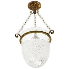 1920s Empire Style Bronze and Bohemian Crystal Cut Glass Bell Jar Chandelier