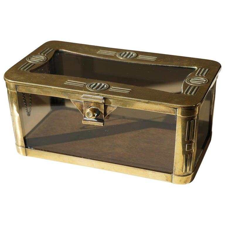 French Art Nouveau Brass and Glass Jewelry Box, circa 1900
