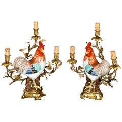 Pair of Chinese Export Rooster Louis XVI Style Gilt Bronze-Mounted Candelabras