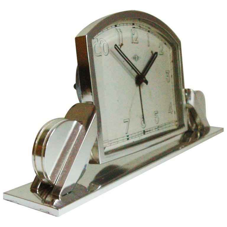French Art Deco Chrome Mechanical Alarm Clock with Geometric Base by Dep