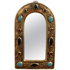 Byzantine Style Ceramic Wall Mirror by François Lembo, circa 1960s-1970s