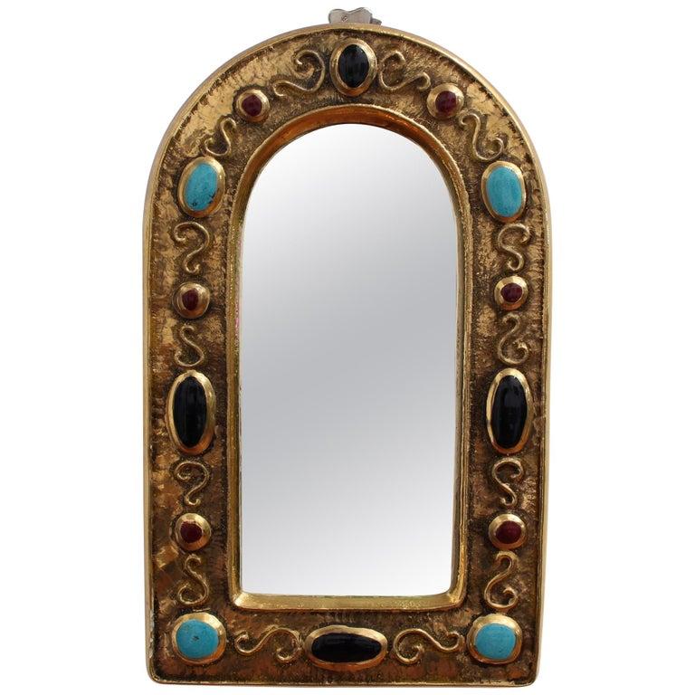 Byzantine Style Ceramic Wall Mirror by François Lembo, circa 1960s-1970s