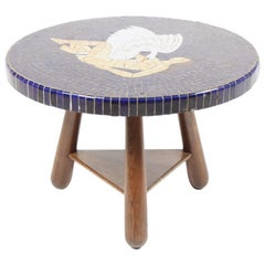1940s Table in Solid Oak and Mosaics