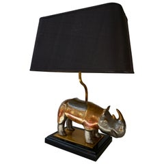 "Table Lamp ""Rhino Lamp"" in Brass with Original Shade"