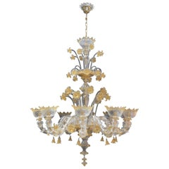 Venetian Murano Chandelier with Gold Flecks