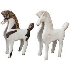 Set of Two Ceramic Horses by Bruno Gambone, Italy, circa 1970s