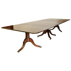 13' English Sheraton Dining Table in Mahogany, 3 Pedestals, 2 Leaves, circa 1850
