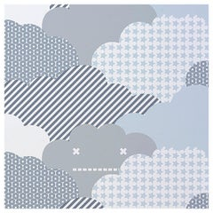 Clouds Designer Wallpaper in Color Storm 'Cool Grays and Charcoal on White'
