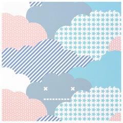 Clouds Designer Wallpaper in Sunshine 'Purple, Peach, Aqua and Grey on White'