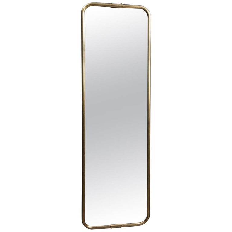 Wall-Mounted and Adjustable 'Psyché' Brass Outlined Mirror