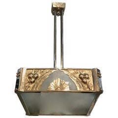 French Art Deco Square Geometric Chandelier