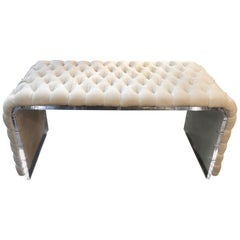 Curved Acrylic Framed Dressing Room Bench with Tufted Linen Upholstery