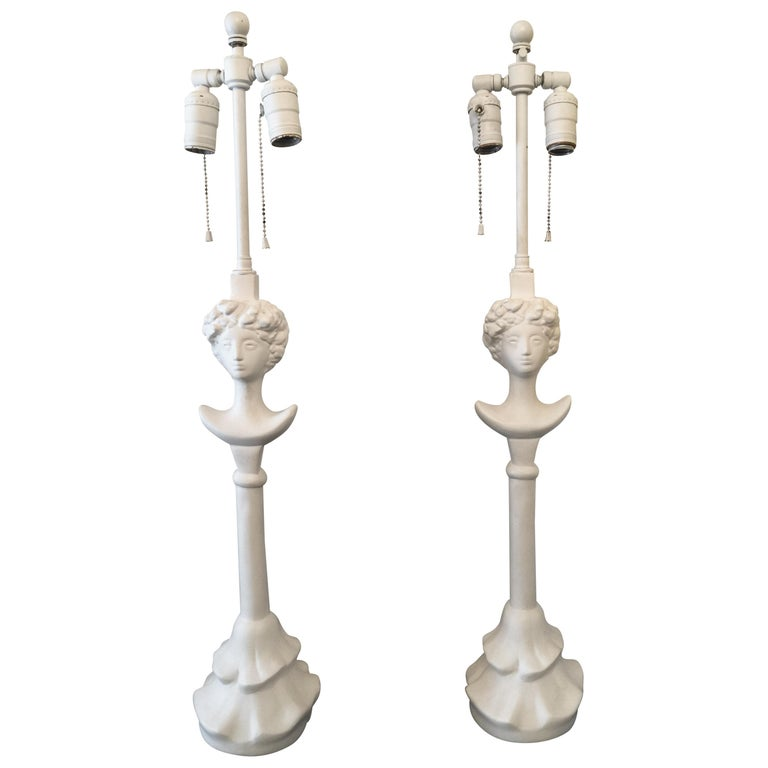 """After Giacometti for Jean-Michel Frank """"Tette de Femme"""" Table Lamps"""