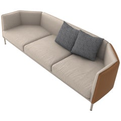 Capture, Contemporary Three-Seat Sofa Upholstered in Fabric and Leather