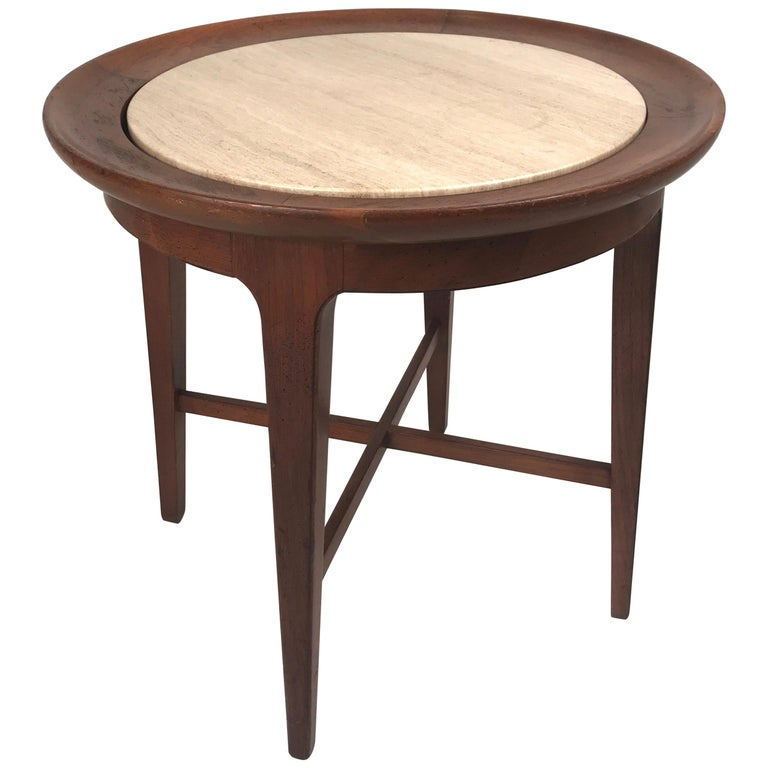 Mid-Century Modern Travertine and Walnut Round End Table or Stand Van Koert