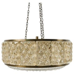 Orrefors Crystal and Brass Pendant Hanging Light by Vitrika