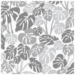 Deliciosa Designer Wallpaper in Smoke 'Cool Greys and Charcoal on White'