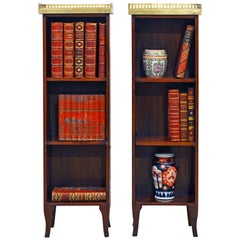 Pair of Charming Small French 19th Century Gallery Marble-Top Book Shelf Stands