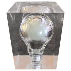 Pop Art Light Bulb Sculpture / Paperweight in Lucite by Pierre Giraudon