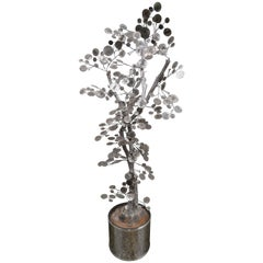Whimsical C. Jere Chrome Raindrops Tree Mid-Century Modern