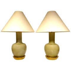 Pair of Japanese Celadon Glazed Porcelain Lamps