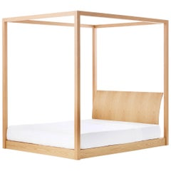 Utah Canopy Bed, Contemporary Low Four-Poster King-Size Bed in Natural Oak