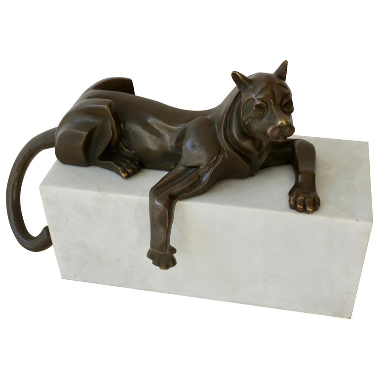 Art Deco Bronze Dog Sculpture by Decoux, 1930, France