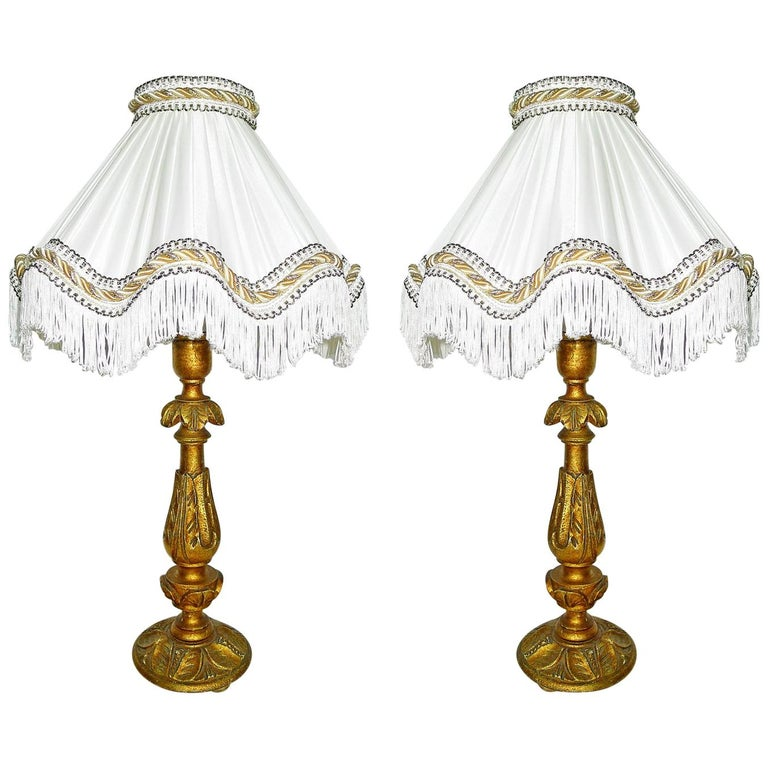Pair of Italian Baroque Carved Giltwood Candlesticks Torchères Ivory Table Lamps For Sale