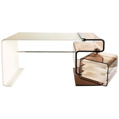 1970s White Acrylic Desk with Smoked Lucite