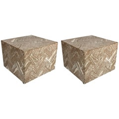 Pair of Italian Herringbone Marble Cube Side Tables