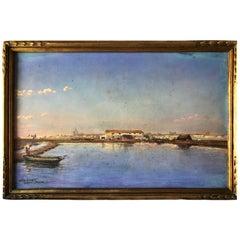 Signed Albert Gouges Art, Original Watercolor Pastel on Paper Framed under Glass