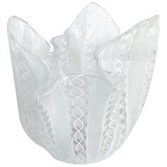 Venini Latticino Glass Handkerchief 'Fazzoletto' Vase, circa 1950