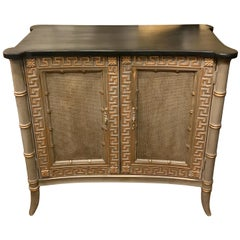Two Regency Style Lacquered Faux Bamboo Cabinets