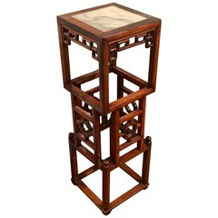Chinese Export Hardwood and Marble Stacked Cube Pedestal