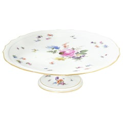Meissen Floral Cake Stand with a Gilt Scalloped Edge