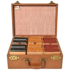 Early 20th Century Bakelite Poker Chips with Leather Travel Carrying Case