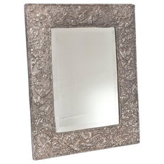 Repoussé Flowers and Birds Sterling Silver Framed Table Vanity Mirror