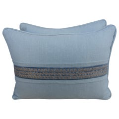 Pair of Faded Linen Pillows with Fortuny Accent