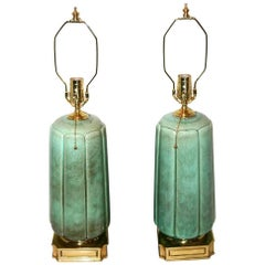 Pair of Celadon Porcelain Lamps