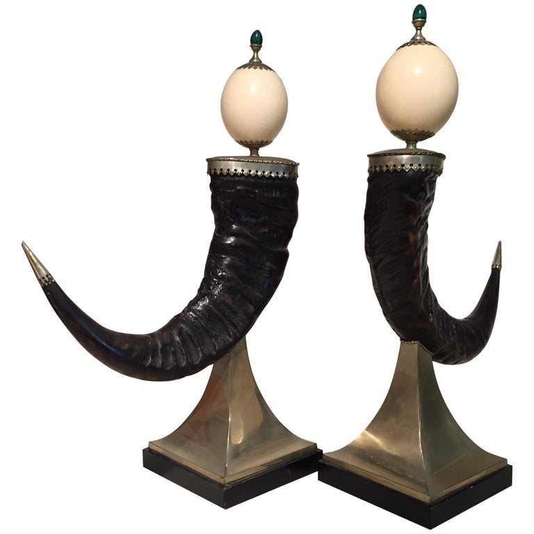Anthony Redmile Mounted Horns with Ostrich and Malachite