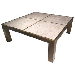 1970s Brass Coffee Table and Travertine Top