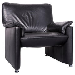 Laauser Flair Designer Leather Armchair Black One-Seat Couch